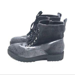 NWOB Mossimo Gray Velvet Combat Boots
